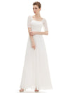 Half Sleeve Empire Waist Evening Dress-White 4