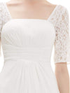 Half Sleeve Empire Waist Evening Dress-White 5