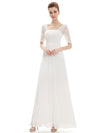 Half Sleeve Empire Waist Evening Dress-White 1