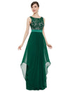Sleeveless Long Evening Dress With Lace Bodice-Dark Green 3