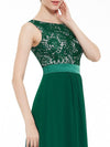 Sleeveless Long Evening Dress With Lace Bodice-Dark Green 5