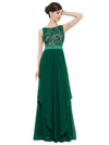 Sleeveless Long Evening Dress With Lace Bodice-Dark Green 1