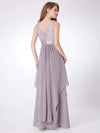 Sleeveless Long Evening Dress With Lace Bodice-Grey 2