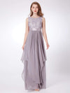 Sleeveless Long Evening Dress With Lace Bodice-Grey 3