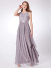 Sleeveless Long Evening Dress With Lace Bodice-Grey 4