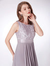 Sleeveless Long Evening Dress With Lace Bodice-Grey 5