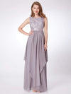 Sleeveless Long Evening Dress With Lace Bodice-Grey 1