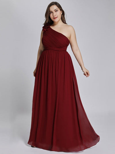 Ruched One Shoulder Maxi Long Evening Dresses for Women