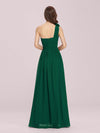 Ruched One Shoulder Evening Dress-Dark Green 2