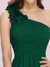 Ruched One Shoulder Evening Dress-Dark Green 4