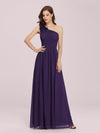 Ruched One Shoulder Evening Dress-Dark Purple 1