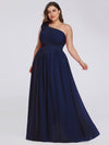 Ruched One Shoulder Evening Dress-Navy Blue 7