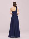 Ruched One Shoulder Evening Dress-Navy Blue 2