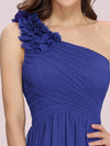 Ruched One Shoulder Evening Dress-Sapphire Blue 3