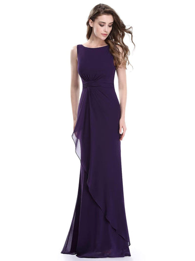 Sleeveless Floor Length Ruched Waist Evening Dress
