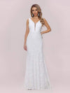 Dainty Deep V Neck Sleeveless Fishtail Lace Wedding Dress-White 6