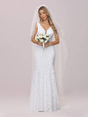 Dainty Deep V Neck Sleeveless Fishtail Lace Wedding Dress-White 7