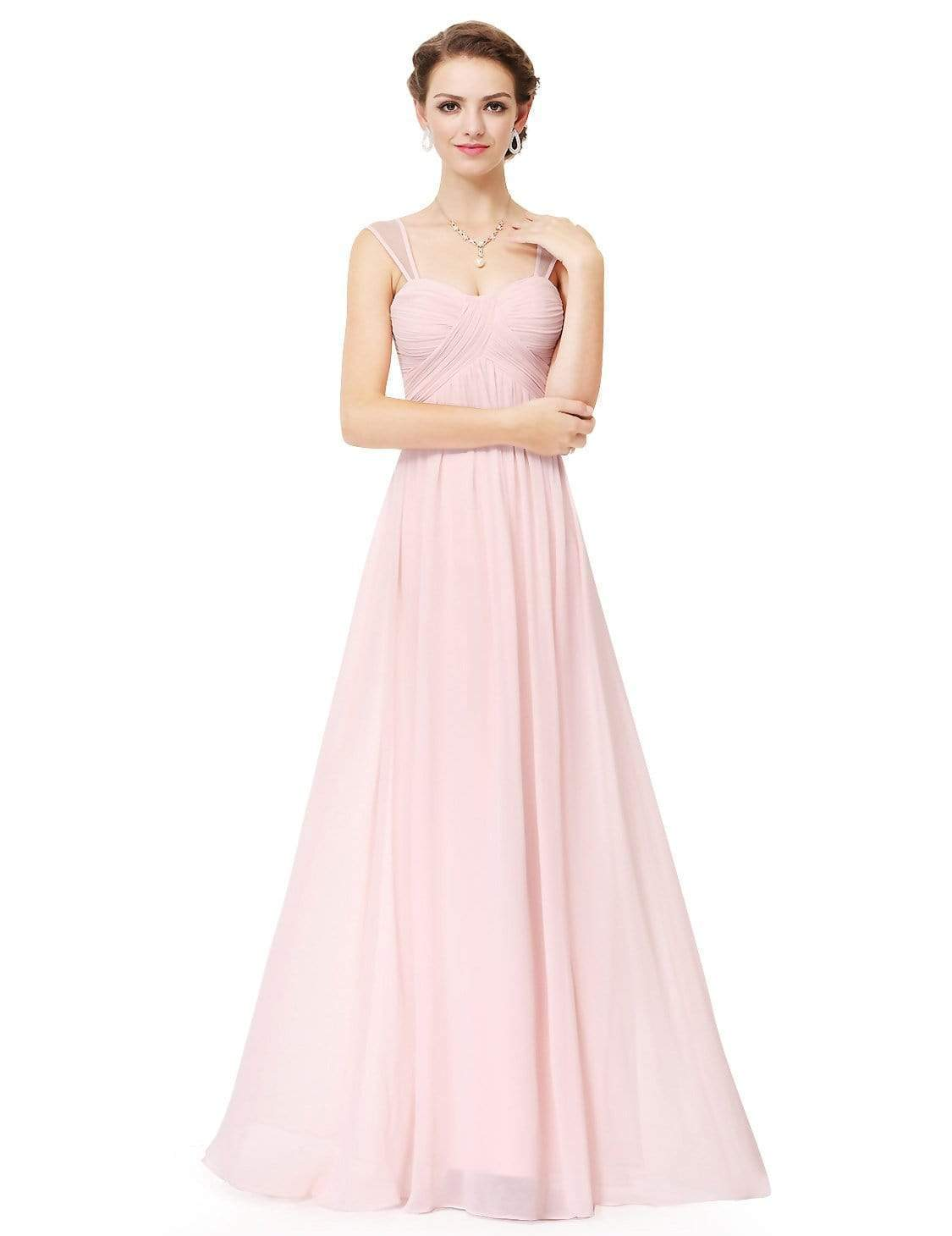 ceb0c3cfe4b0 Elegant Long Chiffon Bridesmaid Dress with Corset Back |Ever-Pretty ...
