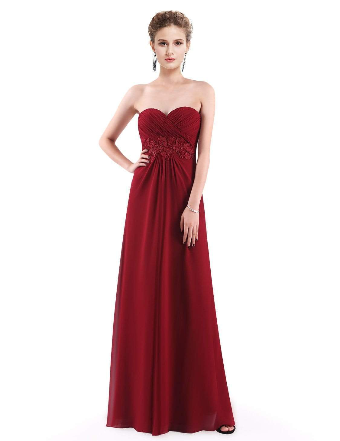 773a9c376a0 Strapless Long Evening Dress with Sweetheart Neckline