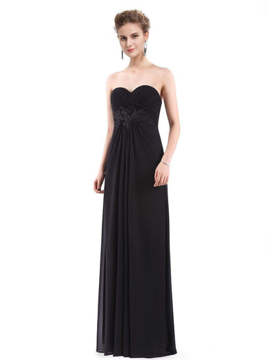 Strapless Long Evening Dress with Sweetheart Neckline