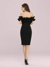 Women'S Sexy Off Shoulder Bodycon Party Dress With Ruffles-Black 2