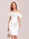 Women'S Sexy Off Shoulder Bodycon Party Dress With Ruffles-White 4