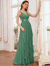 Low Back Deep V Neck Pagoda Sleeve Bead Waist Bridesmaid Dress-Green Bean 1