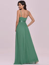 Low Back Deep V Neck Pagoda Sleeve Bead Waist Bridesmaid Dress-Green Bean 5