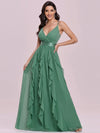Low Back Deep V Neck Pagoda Sleeve Bead Waist Bridesmaid Dress-Green Bean 4