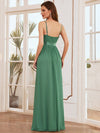 Low Back Deep V Neck Pagoda Sleeve Bead Waist Bridesmaid Dress-Green Bean 2
