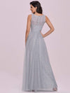 Deep V-Neck Sleeveless Bridesmaid Dress With A-Line Skirt -Grey 5