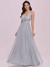 Deep V-Neck Sleeveless Bridesmaid Dress With A-Line Skirt -Grey 6