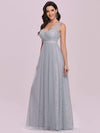 Deep V-Neck Sleeveless Bridesmaid Dress With A-Line Skirt -Grey 7