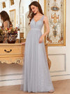 Deep V-Neck Sleeveless Bridesmaid Dress With A-Line Skirt -Grey 1