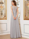 Deep V-Neck Sleeveless Bridesmaid Dress With A-Line Skirt -Grey 2