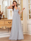 Deep V-Neck Sleeveless Bridesmaid Dress With A-Line Skirt -Grey 3