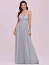 Deep V-Neck Sleeveless Bridesmaid Dress With A-Line Skirt -Grey 4