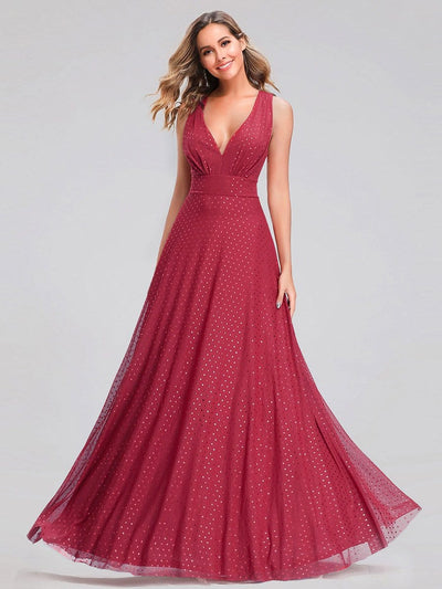 Shimmery Formal Maxi Dress with Deep V Neck