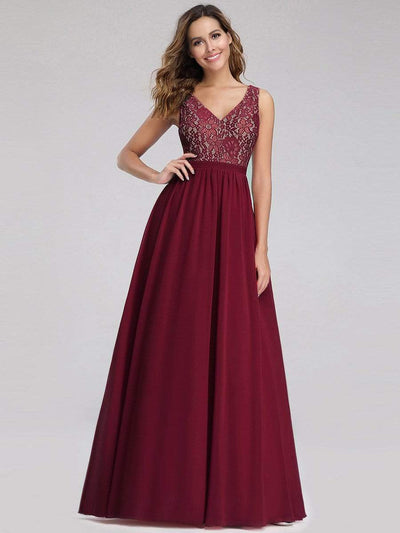 Sleeveless V neck Long Evening Dress with Lace Bodice