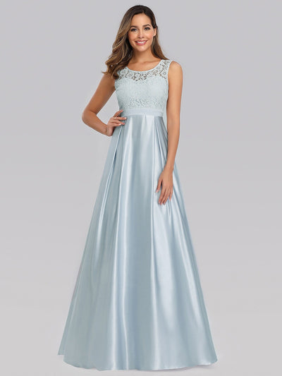 Long Sleeveless Lace Satin O-Neck Wedding Bridesmaid Dresses