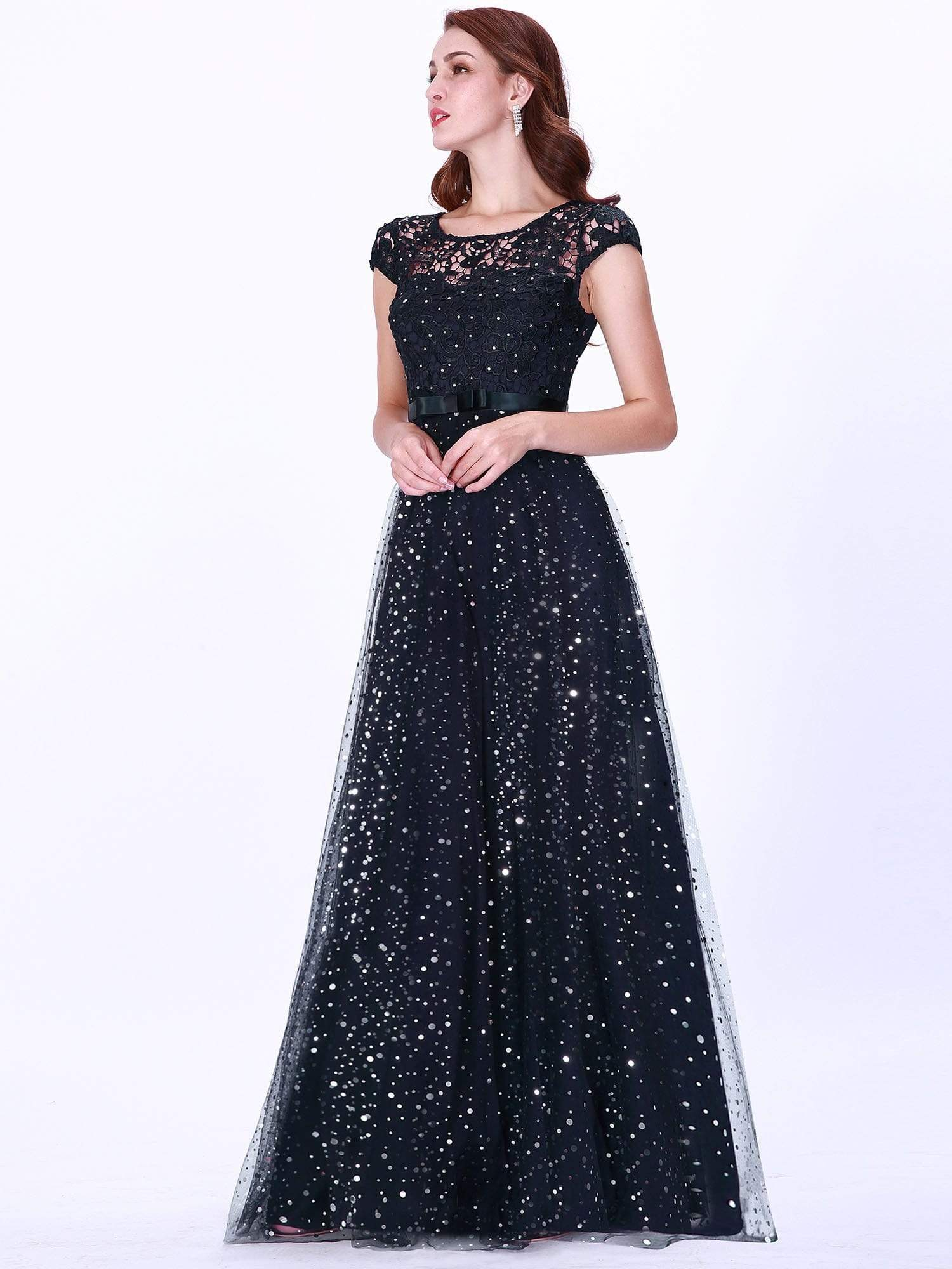 Ever Pretty navy blue lace and sequin bridesmaid dress
