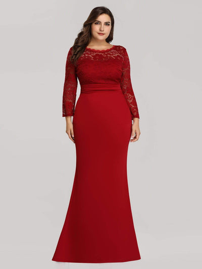 Elegant Mermaid Illusion Neck Long Sleeve Lace Evening Dress