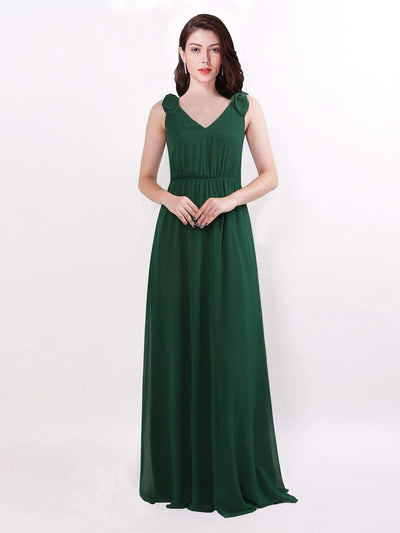 Elegant A Line V Neck Long Chiffon Bridesmaid Dress