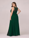 Round Neck Empire Waist Lace Dresses For Women-Dark Green 2