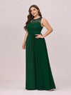Round Neck Empire Waist Lace Dresses For Women-Dark Green 3