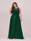 Round Neck Empire Waist Lace Dresses For Women-Dark Green 4