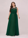Round Neck Empire Waist Lace Dresses For Women-Dark Green 1