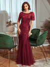 Delicate Embroidery Sequin Fishtail Evening Dress-Burgundy 1