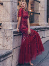 Floral Sequin Print Maxi Long Fishtail Tulle Dresses With Half Sleeve-Burgundy 1
