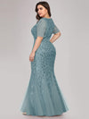 Plus Size Floral Sequin Print Fishtail Tulle Dresses-Dusty Blue 2